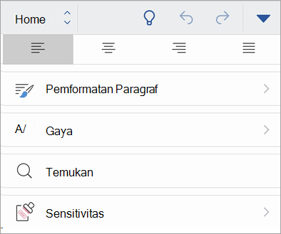 Cuplikan layar tombol sensitivitas di Office untuk iOS