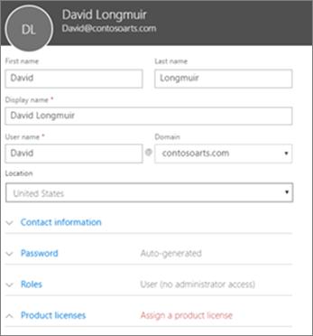 Masukkan informasi pengguna di Kartu pengguna baru