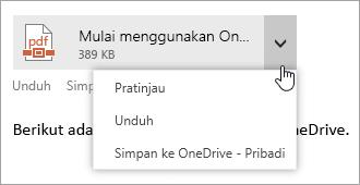 Cuplikan layar menu Tindakan lainnya