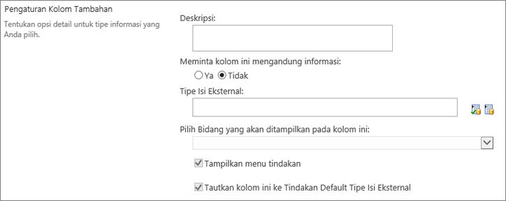 Pilihan kolom data eksternal