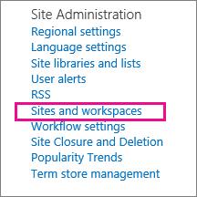 Bagian situs dan tempat kerja dari halaman pengaturan situs