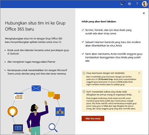 Gambar ini memperlihatkan layar pertama panduan pembuatan Office 365 yang baru.