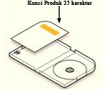 kunci produk berada di dalam kemasan pada label di kartu yang berhadapan dengan penyangga disk di sebelah kiri kotak