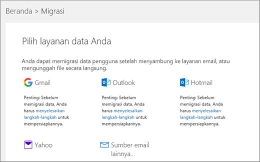 Pilih layanan email Anda