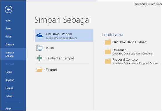 Simpan Sebagai dengan default OneDrive