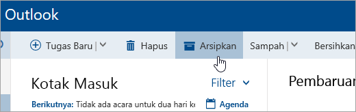 Cuplikan layar tombol Arsip