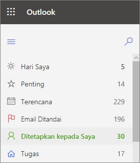 Cuplikan layar navigasi kiri untuk tugas Outlook untuk web memperlihatkan penugasan tepat setelah email berbendera