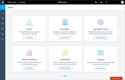 Cuplikan layar: Kaizala manajemen portal