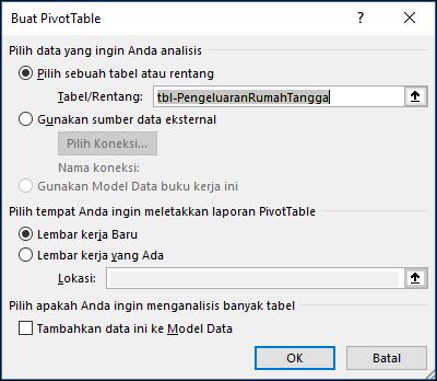 Dialog Excel Membuat PivotTable