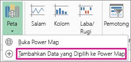 Perintah Tambahkan Data yang Dipilih ke Power Map