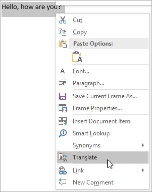 Memperlihatkan menu Klik kanan untuk Terjemahkan