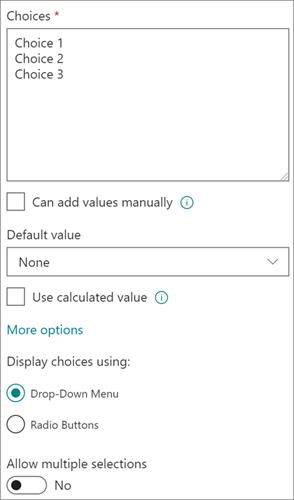 Opsi untuk kolom pilihan dalam pengalaman modern