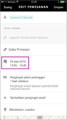 Ketuk tanggal dan waktu untuk mengubahnya