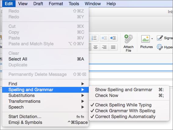 Opsi pada Edit > menu ejaan dan tata bahasa