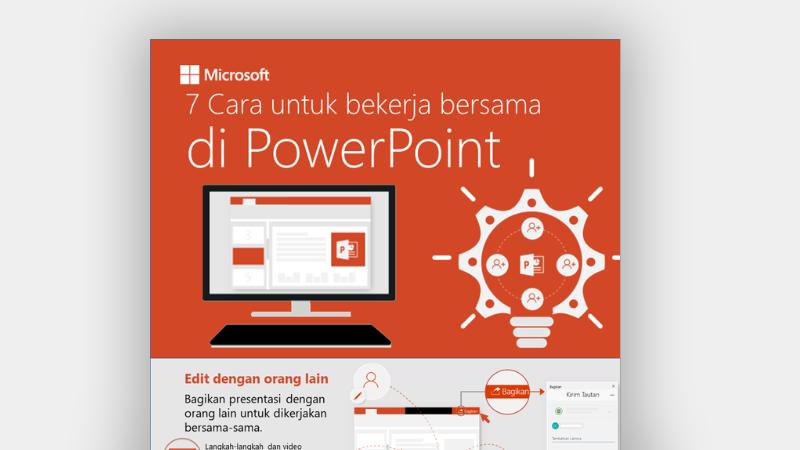 Infografis memperlihatkan 7 cara bekerja secara kolaboratif di PowerPoint