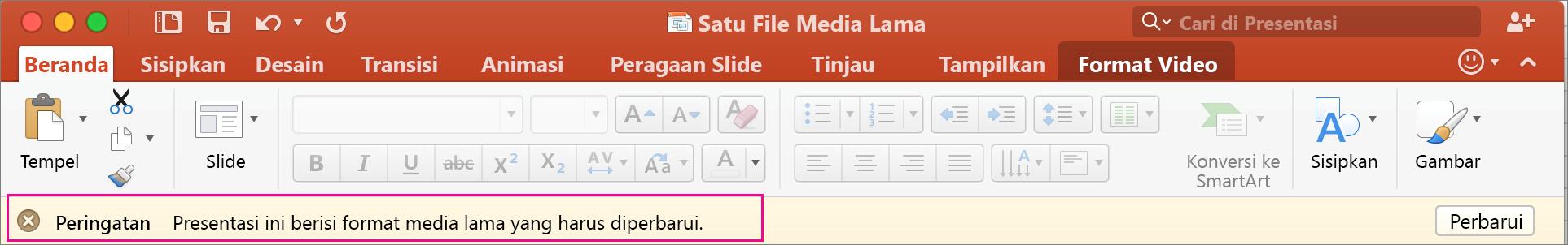 Format Media Lama PowerPoint 2016 untuk Mac