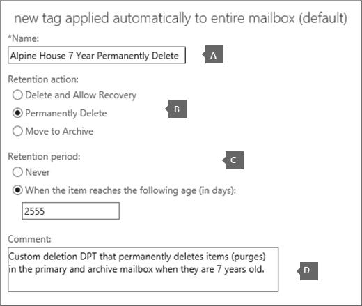 Pengaturan untuk membuat tag kebijakan default penghapusan baru