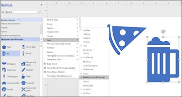 Diagram dengan dua ikon