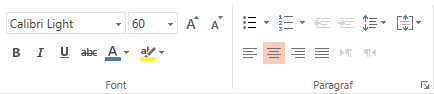 Opsi font, paragraf, dan perataan di PowerPoint online