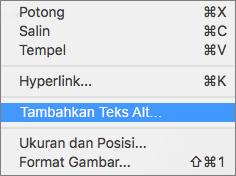 Menu konteks ketika menambahkan teks alt ke gambar di Outlook