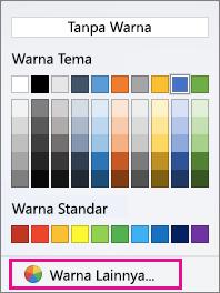 Opsi Warna bayangan dengan Warna Lainnya disorot.