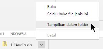Untuk melihat file yang dipadatkan, pilih panah di samping nama file, dan lalu pilih Perlihatkan di Folder.