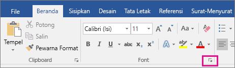 Panah yang meluncurkan kotak dialog Font disorot pada tab Beranda