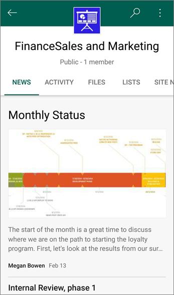 Cuplikan layar tab Berita pada situs tim