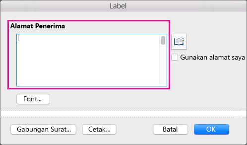 Saat mencetak label, informasi dalam Alamat Pengiriman ditempatkan di setiap label.