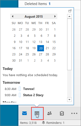 Cuplikan Kalender dengan ikon Kalender dimunculkan