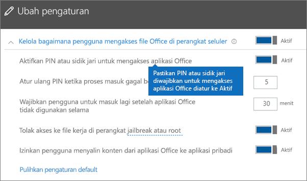 Pastikan bahwa Perlu PIN atau sidik jari untuk mengakses aplikasi Office diatur ke Aktif.
