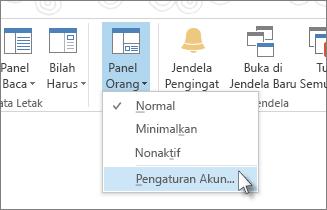 Pada tab Tampilan, klik Panel Orang, lalu klik Pengaturan Akun
