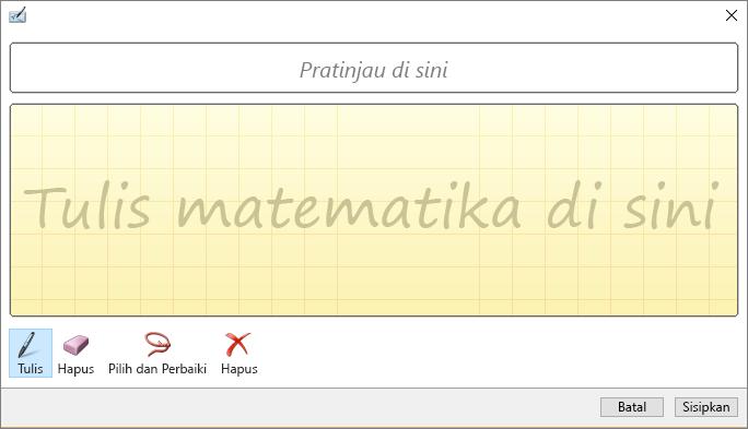 Memperlihatkan panel persamaan tinta di PowerPoint