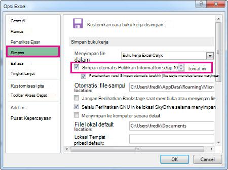 Opsi Menyimpan di Opsi Excel