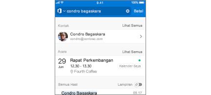Outlook seluler kalender dengan Rapat dalam hasil pencarian