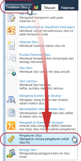 Perintah Pengaturan Situs pada menu Tindakan Situs