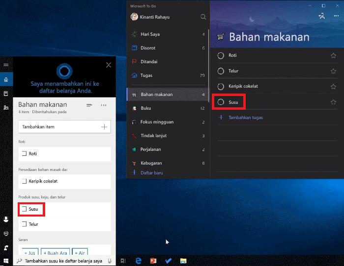 Cuplikan layar memperlihatkan Cortana dan Microsoft to-do Open di Windows 10. Susu telah ditambahkan ke daftar belanjaan menggunakan Cortana dan juga tersedia dalam daftar kelontong di Microsoft to-do