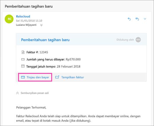 Cuplikan layar tombol tinjau dan bayar