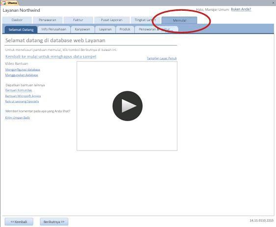 Tab Memulai dari templat Database Web Services