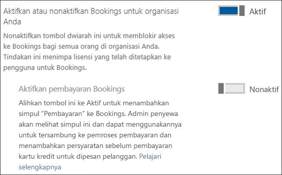 Cuplikan layar: Mengaktifkan Pemesanan di organisasi Anda