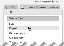 Buka Filter, dan di bawah Tipe, pilih Potongan Gambar