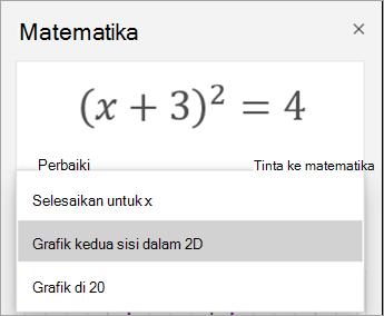 Grafik 2D opsi di panel matematika