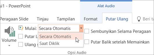 Memilih opsi Mulai di tab Alat Pemutaran Audio