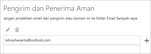 Cuplikan layar kotak pengirim dan Penerima aman