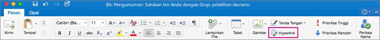 Tombol hyperlink di pita Outlook untuk Mac