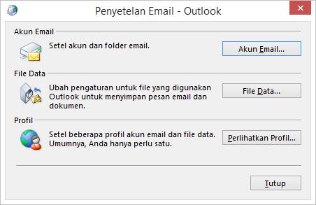 Penyiapan Email - Kotak dialog Outlook yang diakses melalui pengaturan Email di Panel Kontrol