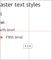 Tag memperlihatkan jarak ke tengah slide