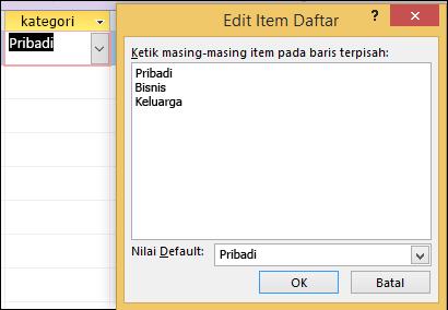 Kotak dialog Edit Item Daftar di formulir Access