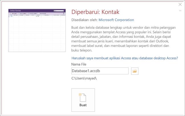 Cuplikan layar kontak daftar antarmuka