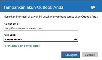 Halaman Tambahkan akun Outlook Anda Windows 8 Mail